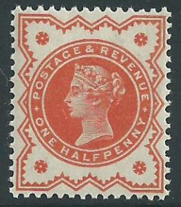 SG197e ½d Orange Vermilion 1887 Jubilee Issue Unmounted Mint (Queen Victoria Surface Printed Stamps)